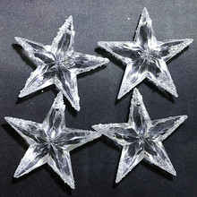 4pcs Powder Acrylic Five-pointed stars Christmas Tree hanging Ornaments day decorations 7cm