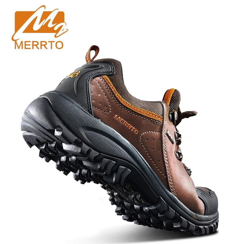 Merrto Waterproof Hiking Shoes Men Outdoor Sports Shoes Genuine Leather Sneakers Breathable Walking Mountain Trekking Shoes Men merrto men s waterproof outdoor shoes mountain breathable genuine leather hiking shoes anti skid cowhide damping walking shoes