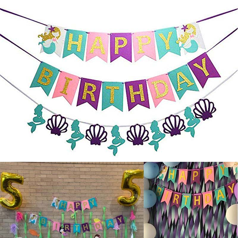 1Set  Mermaid Under The Sea Happy Birthday Banner For Birthday Party Decorations