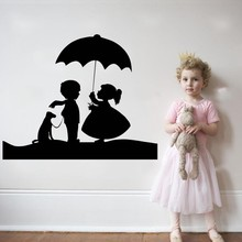 Cute Little Girl And Boy With Dog Umbrella  Lovely Wall Decals Home Kids Nursery Bedroom Sweet Decor Sticker Mural M-88