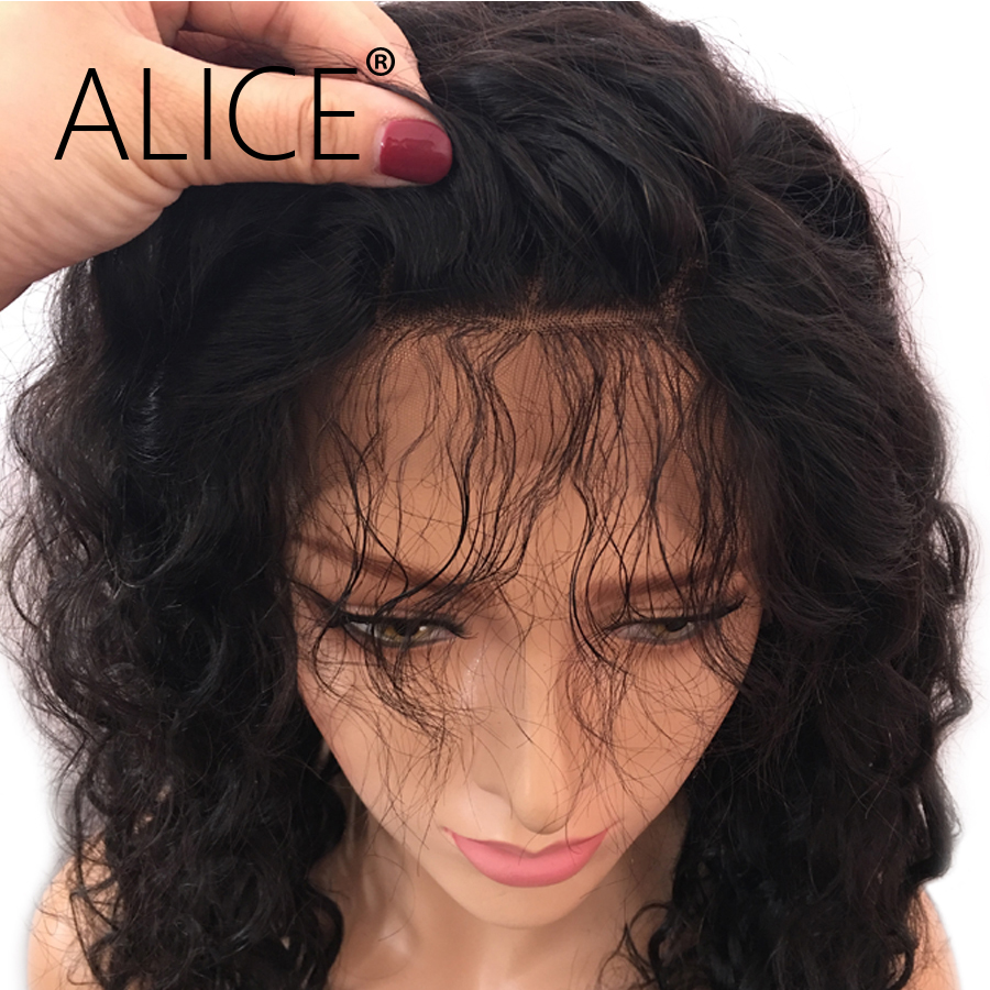 ALICE Brazilian kinky Curly Full Lace Human Hair Wigs With Baby Hair Pre Plucked Lace Remy Hair Wigs For Black Women Bleached