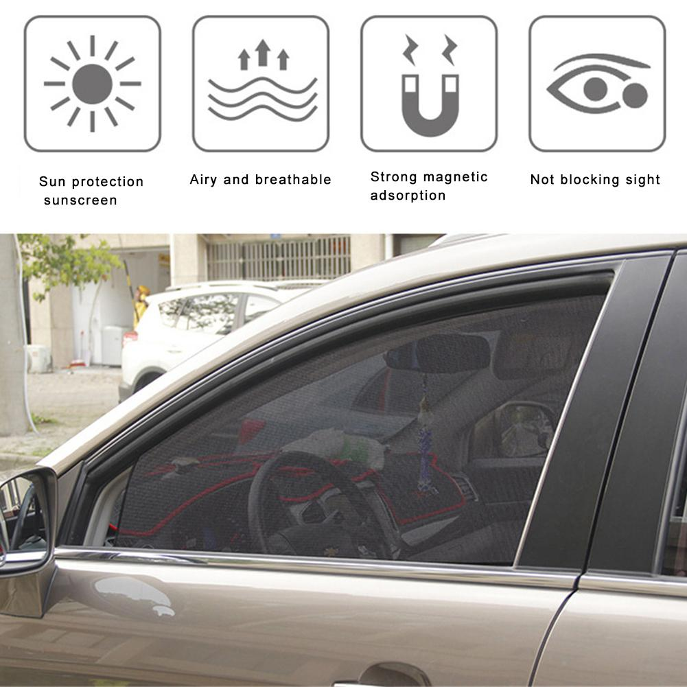 One Set of Car Sunshade Window Curtains Magnet Track Adsorption Adjustable Gold