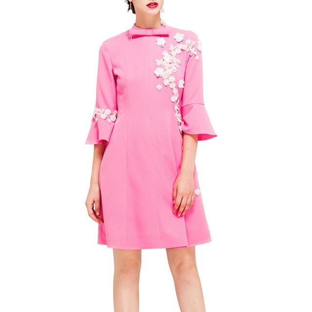 Pettigirl Midi Party Dress vestido de playa Womens Flowers Embroidery Flare Sleeve Elegant Slim A-Line Dress