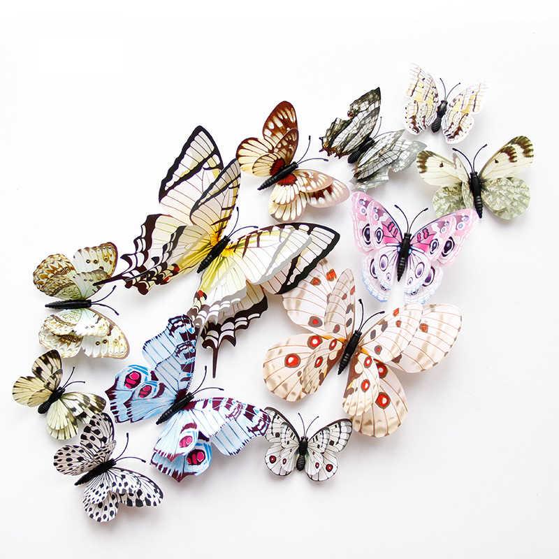 W nowym stylu 12 sztuk podwójna warstwa 3D naklejka na ścianę z motylem na ścianie Home Decor motyle do dekoracji magnes naklejki na lodówkę