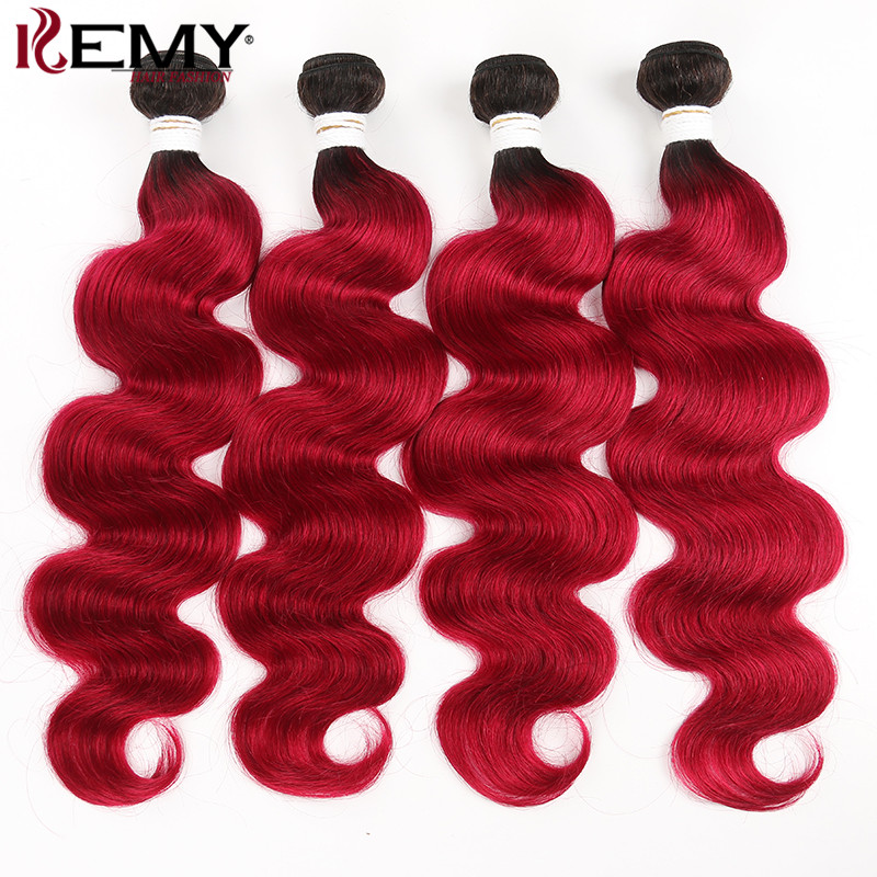 Brazilian Body Wave 100% Human Hair Weave Bundles Dark Root Ombre Red Color Hair Bundle KEMY HAIR 4 PCS Non-Remy Hair Weaving