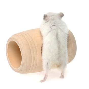 Rat Hamster Mouse Wooden Bed House Cage Toy Wine Cask Design Rat Small Pet Toy image