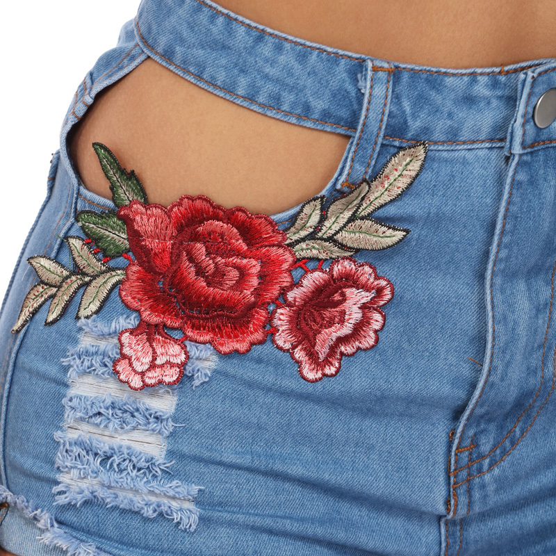 HTB1PMKTRFXXXXbdXVXXq6xXFXXXK - Sexy Hole High Waist Denim Shorts Flowers Embroidered PTC 156