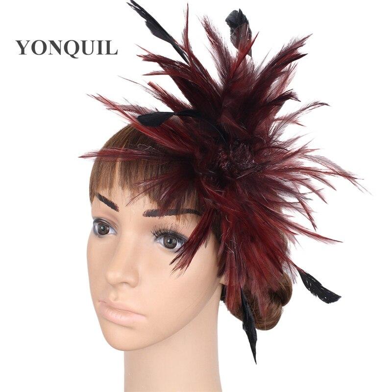 Várias cores headpiece pena alta qualidade fascinator chapéus com - Acessórios de vestuário - Foto 3