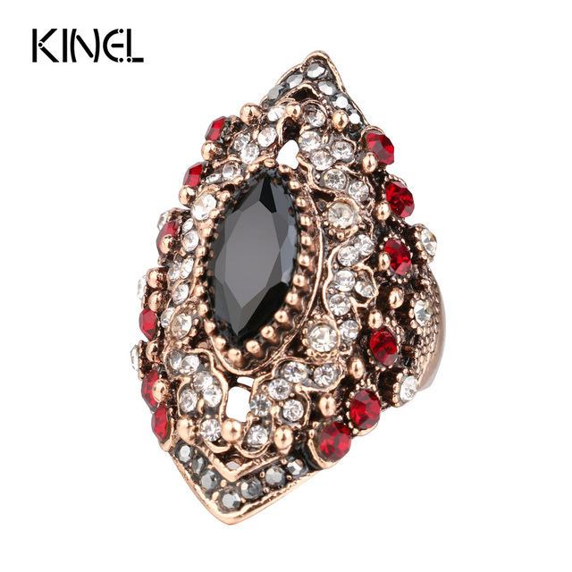 2017 New Antique Rings For Women Vintage Jewelry Color Gold Crystal Resin Anel A
