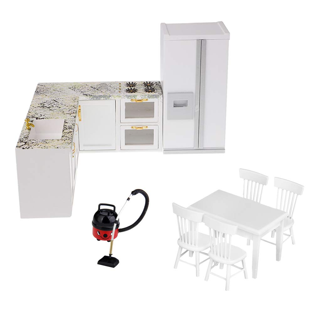 1:12 balance maison de poupée cuisine meubles Miniature aspirateur Table chaise réfrigérateur poupée maison accessoires jouets cadeau pour enfants