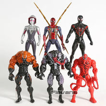 Marvel Spiderman Brinquedos Miles Morales Veneno de Carnificina Gwen Stacy 6 pçs/set Figuras de Ação PVC com Luz LED(China)