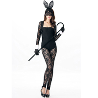 2016 New Sexy Adult Lace Perspective Bunny Costume Rabbit Bodysuit Erotic Fantasia Animal Halloween Costume Clubwear