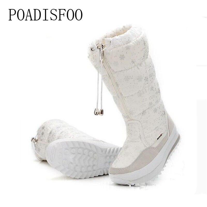 2017 Frauen Schnee Weiß Stiefel Frau Weibliche Mid-kalb Stiefel Königin Winter Boot Warme Plattform Schuhe Santa Claus Plus Größe. Jsh-m0767 SorgfäLtige FäRbeprozesse
