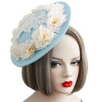 De moda Elegante de Las Señoras de Encaje Floral Hecho A Mano de Lado Flor Mini Sombrero de Pelo broche de Horquilla Tocado Del Partido de Baile