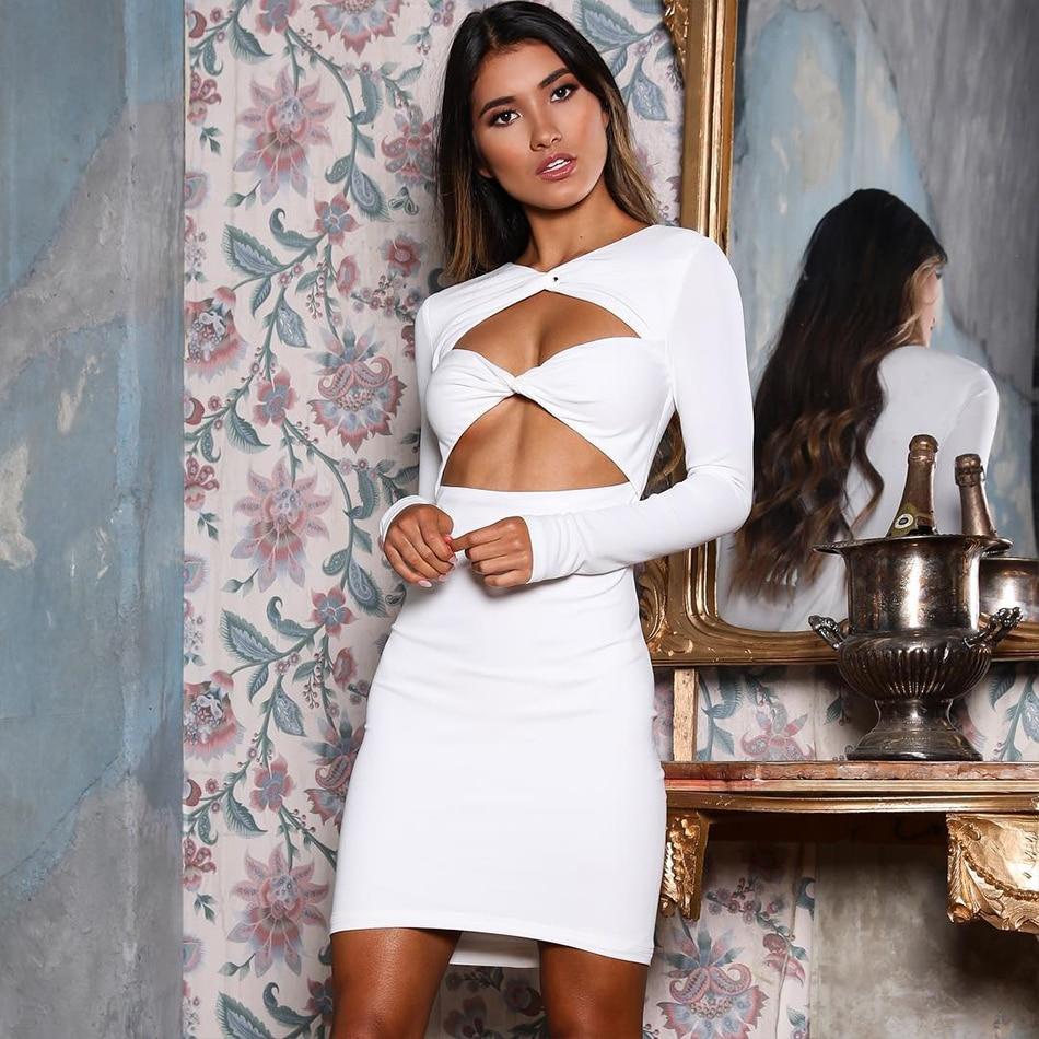 Adyce Sexy V Neck Hollow Out Club Elegant Dress H5597