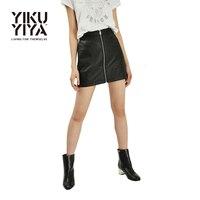 Yikuyiya 2017 Fashion High Waist Bodycon Skirts Women Chic Zipper Pocket Black Faux Leather Mini Skirt