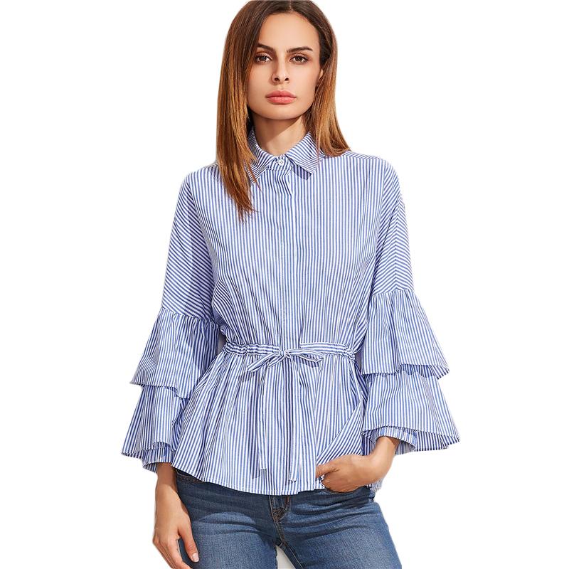 79bd52acb9cb2b Sheinside Fall Women Clothes Womens Long Sleeve Top Brand Blue Vertical  Striped Ruffle Collar Cold Shoulder Blouse USD 24.98 piece