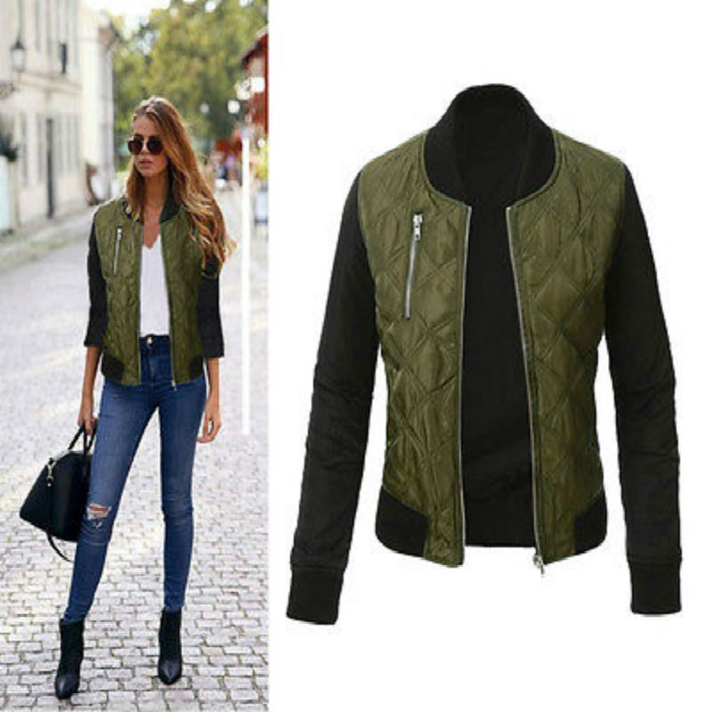 Stylish Womens Jacket Classic Padded Bomber Vintage Zip Up Biker Ladies Coat New
