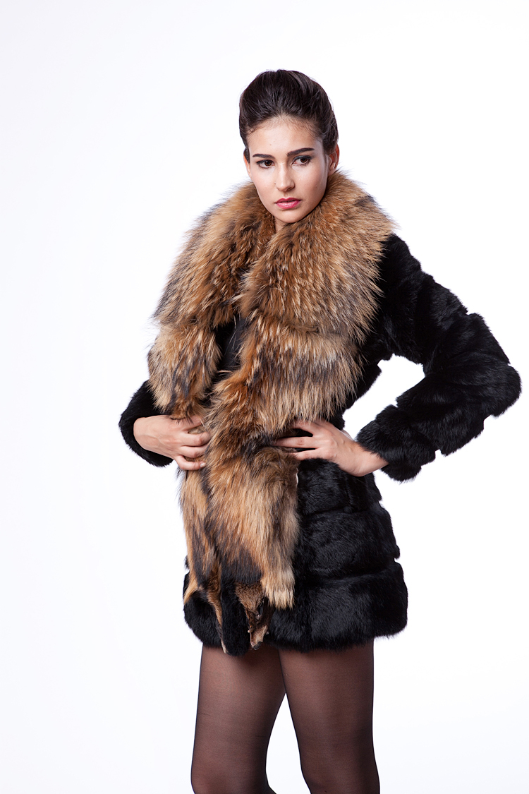Free Shipping 2013 New winter Female Faux Raccoon fur collar Artificial Rabbit Fur Slim Outerwear Coat Full S,M,L,XL,XXL D2077 female rabbit raccoon fur coat and long sections nagymaros collar coat 2014 new winter fur clothes big yards free shipping