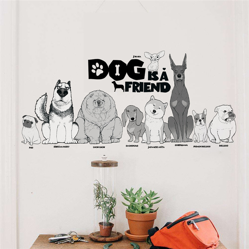 Dog Is A Friend Decorative Wall Stickers Living Room Bedroom Decoration Pet Hospital Window Glass Decor Animals Art Mural Poster
