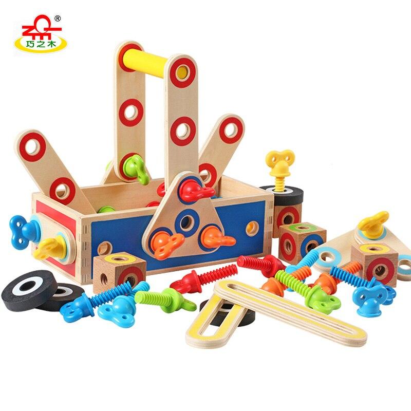 QZM Educational Toys Geometric Assembling Blocks Baby Toys Tool Box Robot Truck Assemblage for Boys 15 holes intelligence box wood geometric blocks baby learning assemblage toys