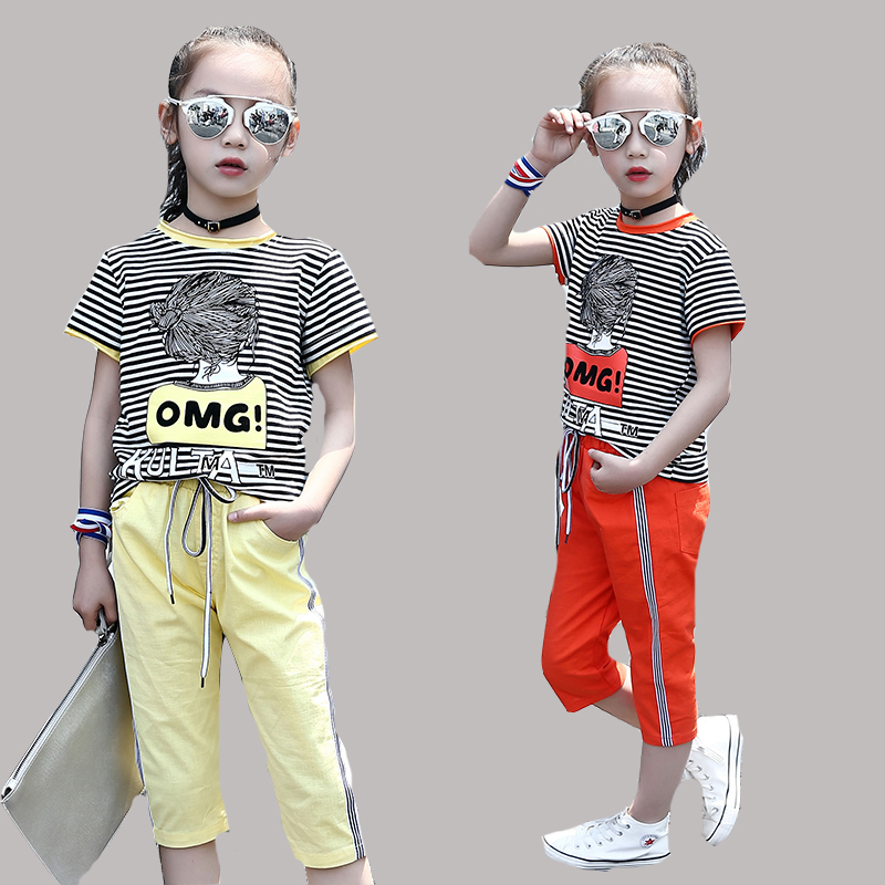 Summer Clothing Sets For Girls Sports Suits Striped Cartoon T-Shirts For Girls Pants Cotton Casual Girls Sportswear Tracksuits