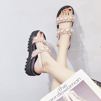 Spessore Di Fondo Nuova Piatto Estate Vento Selvaggio Pan Del perla Versione colore Il Nero Spagna Scarpe Femminili Sandali 2018 Coreana Rosa Studenti IOPwIZ