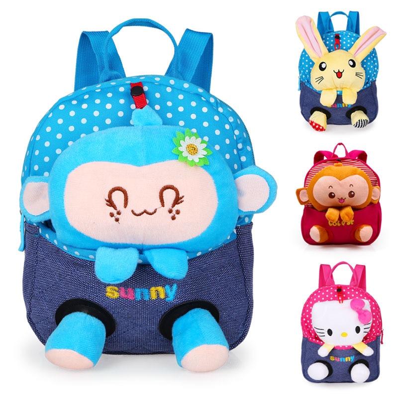 2016 New Cute Bear School Bags Children font b Backpack b font Canvas Cartoon Doll Bear