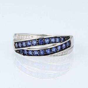 Image 5 - SANTUZZA ensemble de bijoux pour femmes pur 925 argent Sterling bleu Nano cubique zircone pierres boucles doreilles ensemble de bagues délicate Fine bijoux