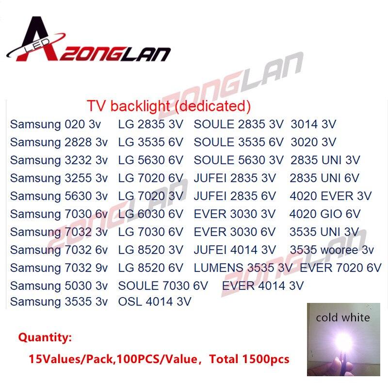 100% Quality Lg1500pcs/lot 1w-2w Smd Led Kit 3v/6v 2835/3030/2828/3535/5630/7020/7030/4020/7032seoul Cold White For Tv Backlight Beads 15*100