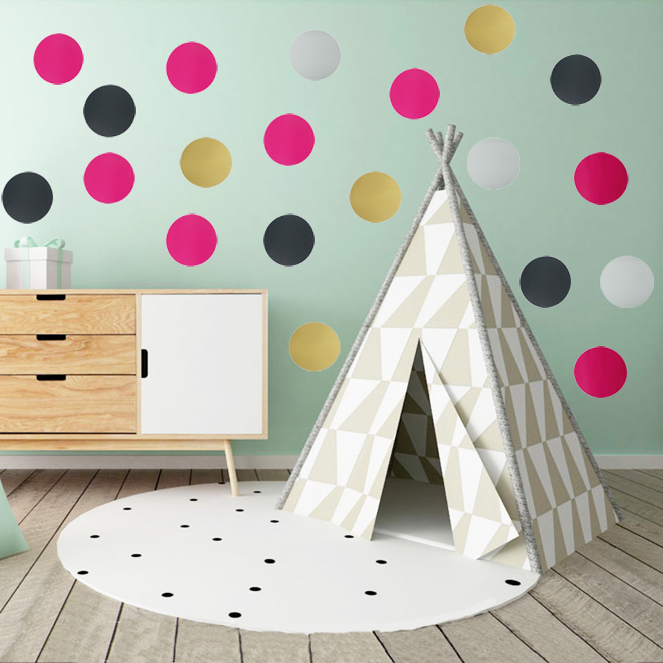 4 7 10cm Polka Dot Wall Stickers Gold Art Wall Decals Vinyl Removable Stickers For Kids Rooms Living Room Home Decor 5 Colors