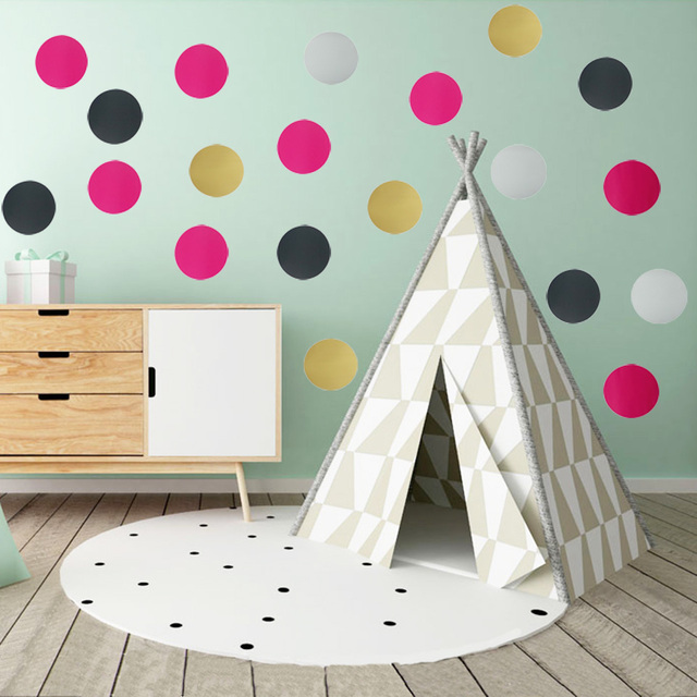 4 7 10cm Polka Dot Wall Stickers Gold Art Wall Decals Vinyl ...