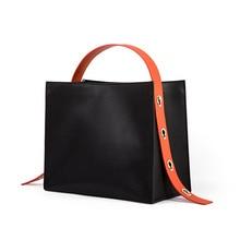 MZORANGE Brand Design Fashion Large Capacity Business Bag Women Genuine Leather Shoulder Bag Handbag Candy Color Casual Tote Bag casual canvas and color block design women s tote bag