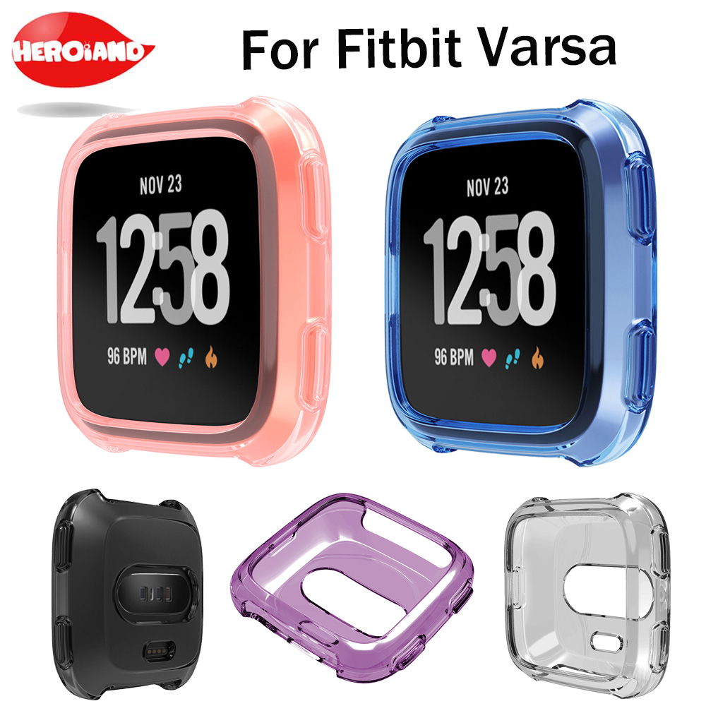 new Soft Silicone Protective Case For Fitbit Versa Activity Smart Watch Accessories Cover Shell Frame Full Protect Watch Case crested stainless steel metal frame case cover shell for fitbit blaze replacement case activity tracker smart watch accessories