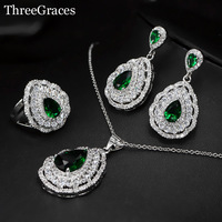 Luxury Cubic Zircon Green Crystal 925 Sterling Silver Large Dangle Water Drop Fashion Women Earrings Necklace