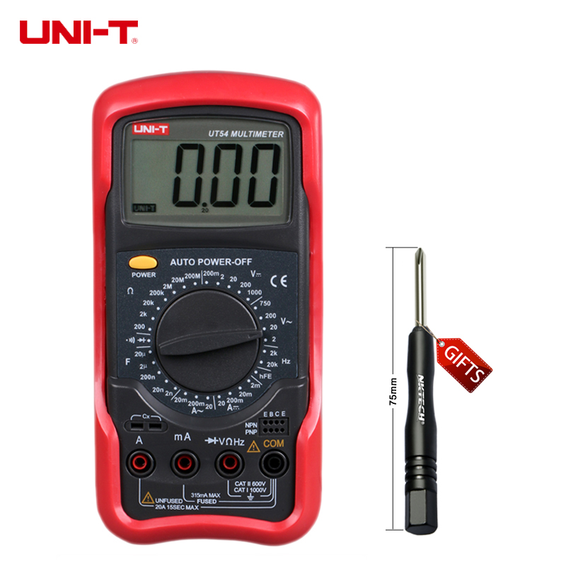 UNI-T 3 1/2 digits Digital Multimeter UT54 Capacitance Frequency Resistance Measurement Full ranges Overload Protection my68 handheld auto range digital multimeter dmm w capacitance frequency