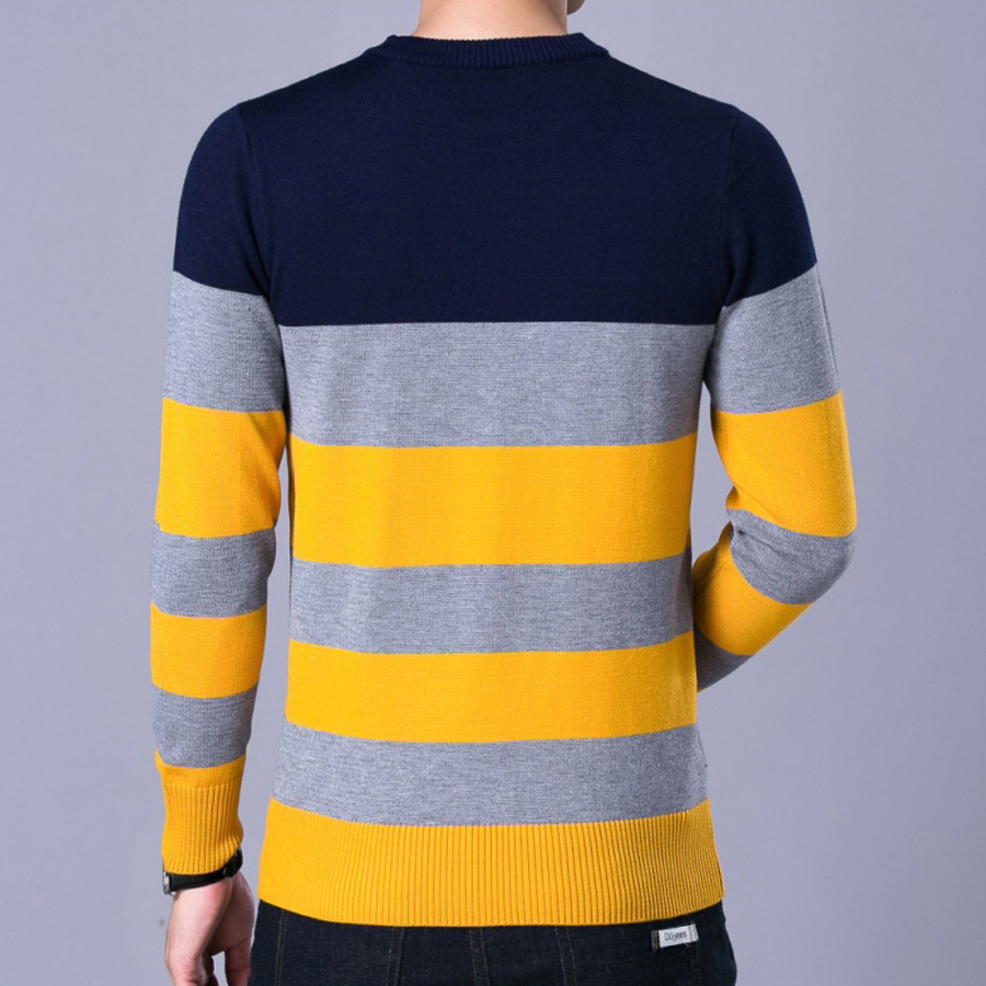 Red White Black Striped Sweater Men Casual Winter Autumn Skinny ...