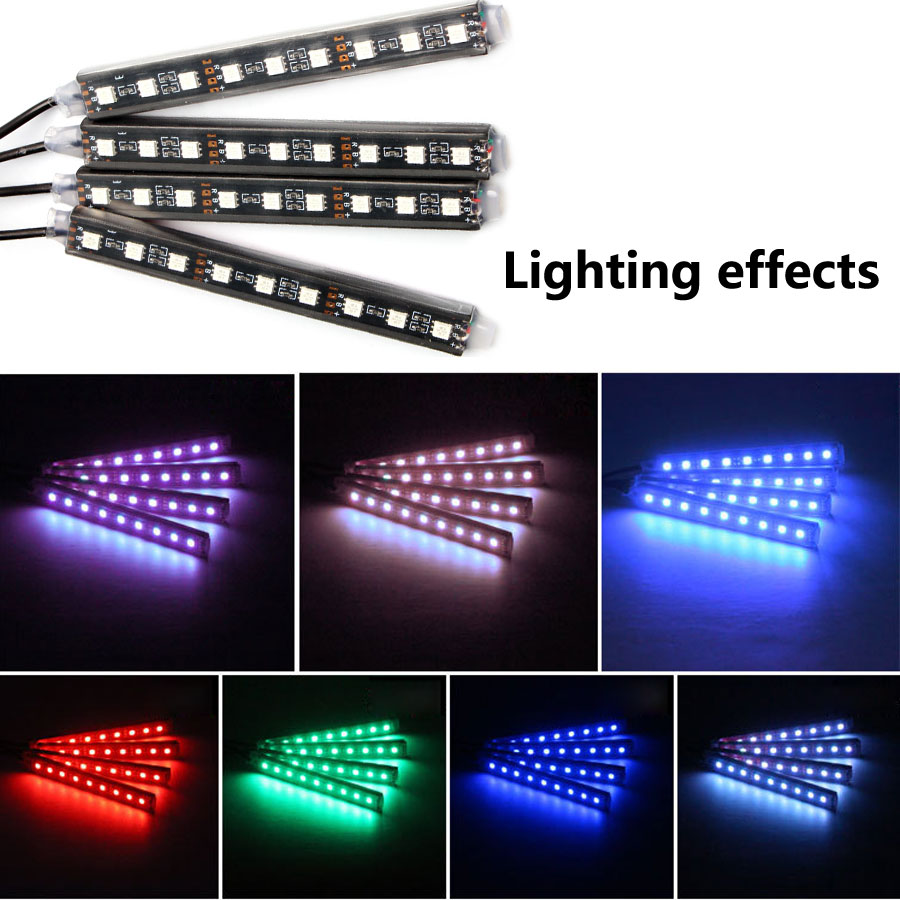 4pcs Car 12 V LED Strip USB RGB Light Tape PC Car RGB USB 12V Volt Led Strip Music IR APP Controller Decorative Flexible Lamp
