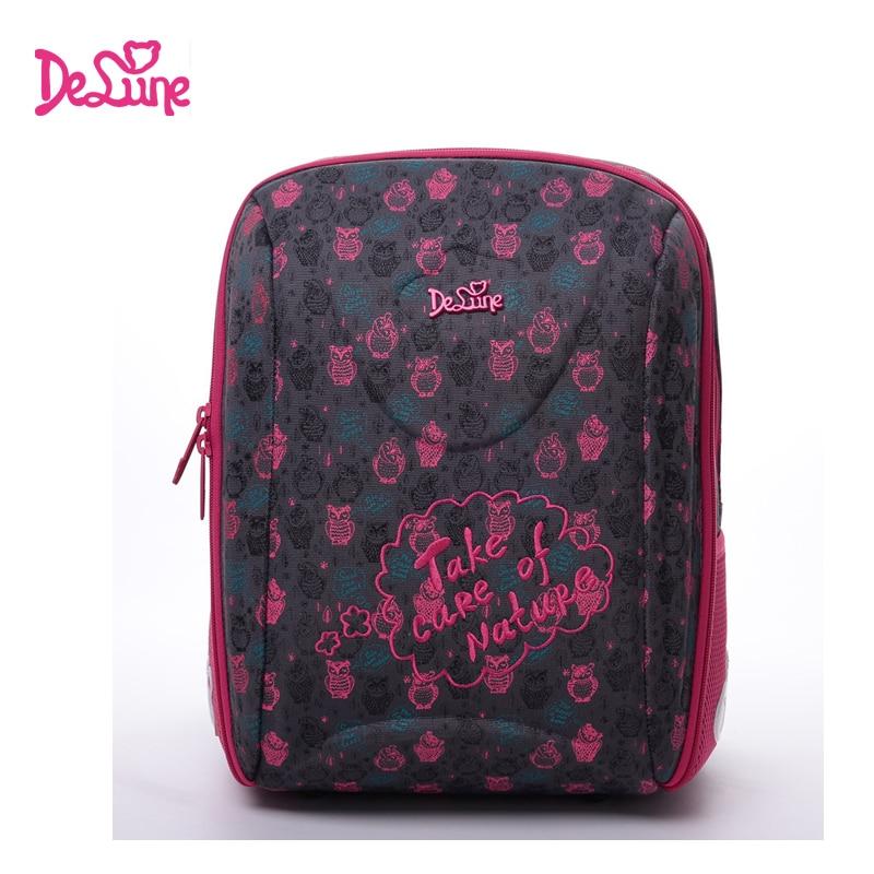 2017 Delune new style girls school bag high quality nylon fabric ergonomic design children cartoon animal