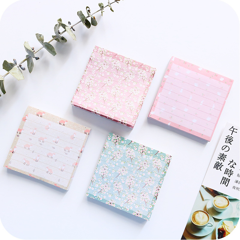Kawaii Animal Fox Rabbit Memo Pad Post it Flower Sticky Notes Self-Adhesive Label Notepad School Office Supplies Papelaria 01962