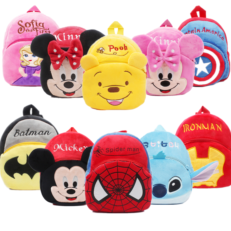 Disney Cute Cartoon Plush Backpack Mickey Mouse Minnie Winnie The Pooh Avenger Union Children's Kindergarten Schoolbag Gift