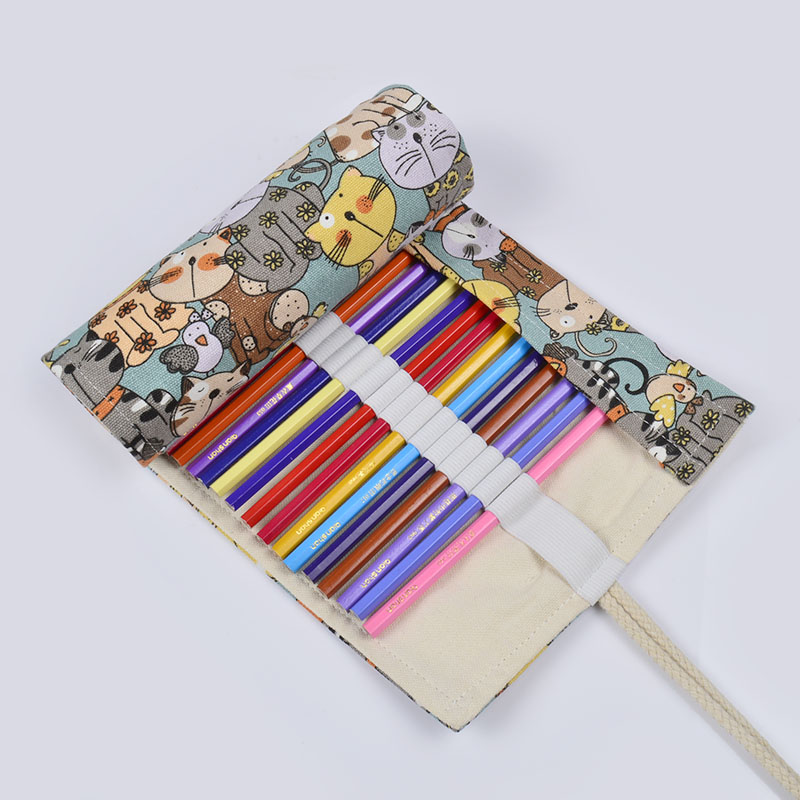 Cute Cartoon Meowers Canvas School Pencil Case 36/48/72 Holes Roll Penalty Large Pen Bag Escolar Pouch Estuche Escolar Supplies perfect pencil case pencil bag feather sleeve pencil case for 72 pen color blue
