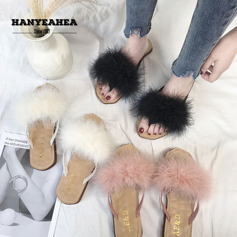 New Arrival Womens Summer Shoes Casual Fashion Furry Slippers Classic Fashionable