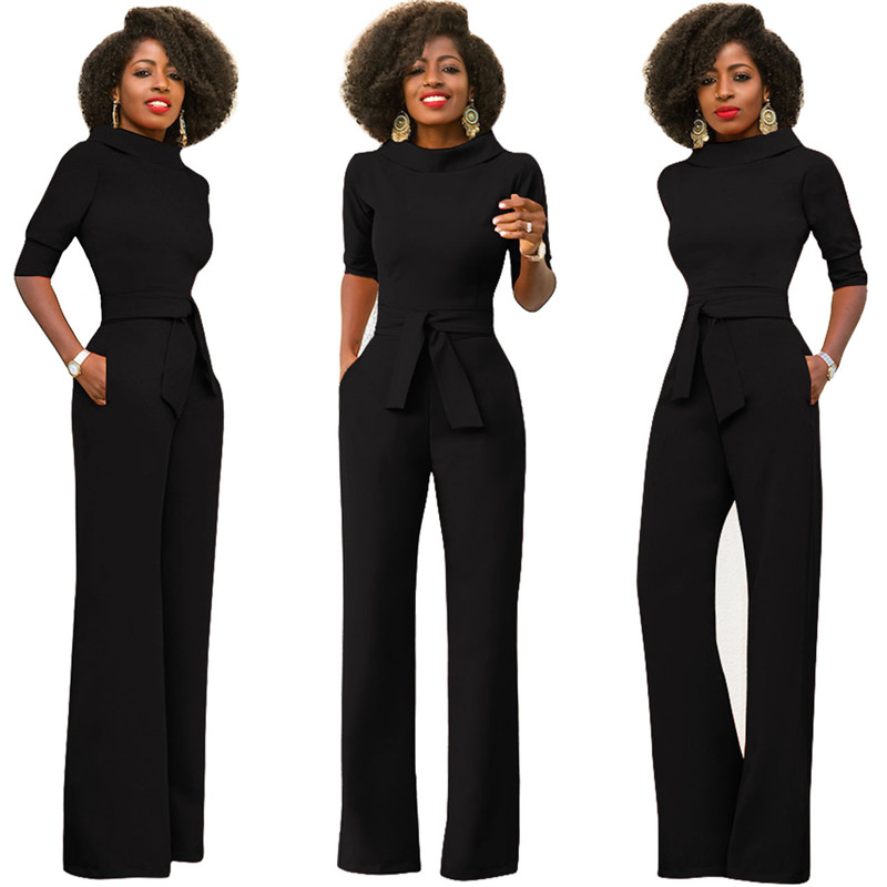 a89988a2b1 Elegant Office Work Wear Business Formal Jumpsuits 2018 Women Half Sleeve  Pockets Wide Leg Pants Romper Fashion Overalls Sashes-in Jumpsuits from  Women s ...