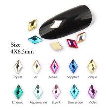 Новинка, распродажа, Стразы для ногтей с ромбовидным узором, 4X6,5 мм, 30 шт./100 шт., стразы с плоской задней поверхностью для 3D украшения ногтей