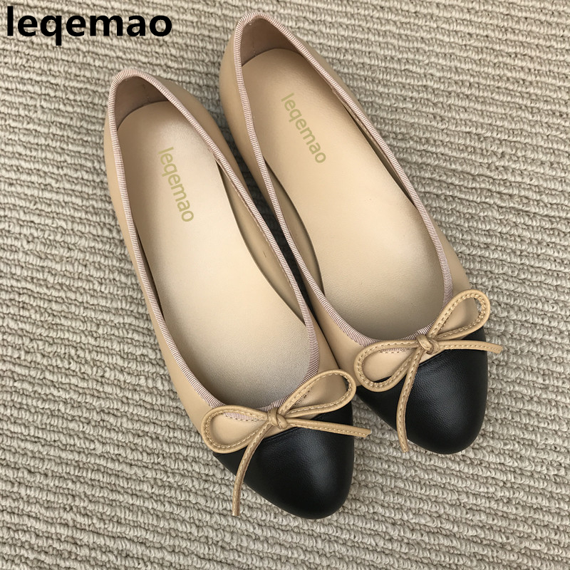 Hot Sale Spring Autumn Fashion Women Shoes High Quality Genuine Leather Designer Bowtie Casual Ballet Flats Shoes 34-42 Leqemao hot sale spring autumn handmade flats
