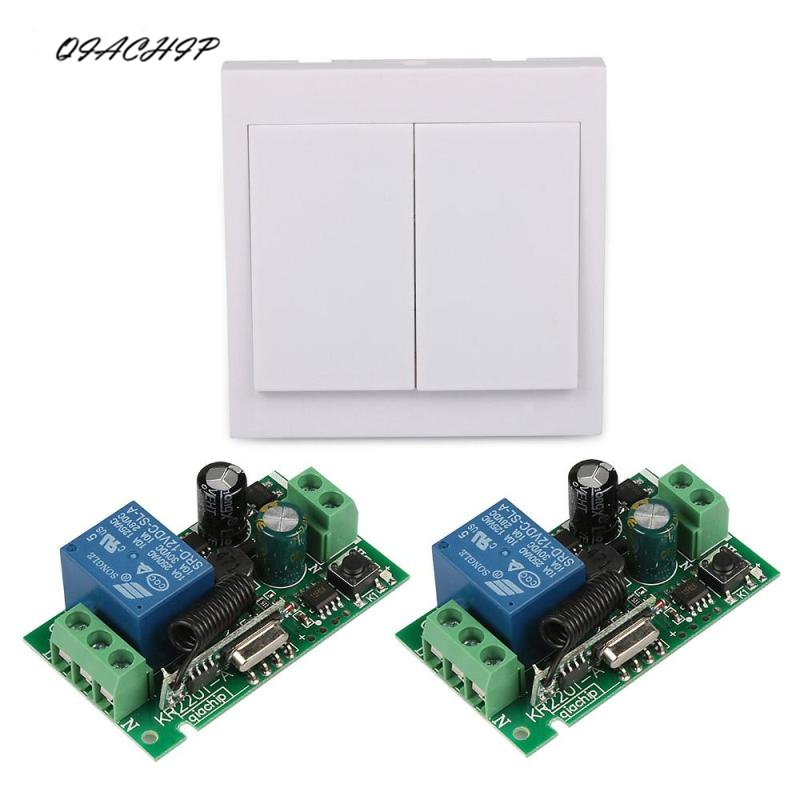QIACHIP AC 220V 2 CH Wireless Wall Panel Switch 433MHz RF Relay Receiver Transmitter For Smart Home Switch Control qiachip 433mhz 86 wall switch 2 button remote control switch wireless transmitter switch room for smart home lamp light led bulb