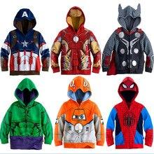 Новые детские футболки с капюшоном для мальчиков с изображением Мстителей, Железного человека, Тора пальто для маленьких мальчиков костюм Человека-паука Детские футболки с капюшоном