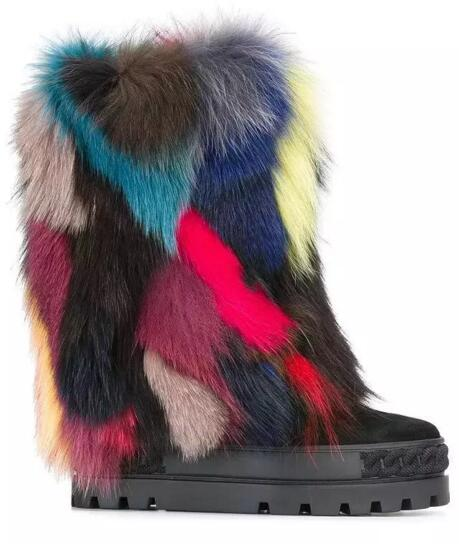 Mixed colors fur decoration wedge heel winter boots flat platform height increasing winter warm snow boots slip-on ankle boots