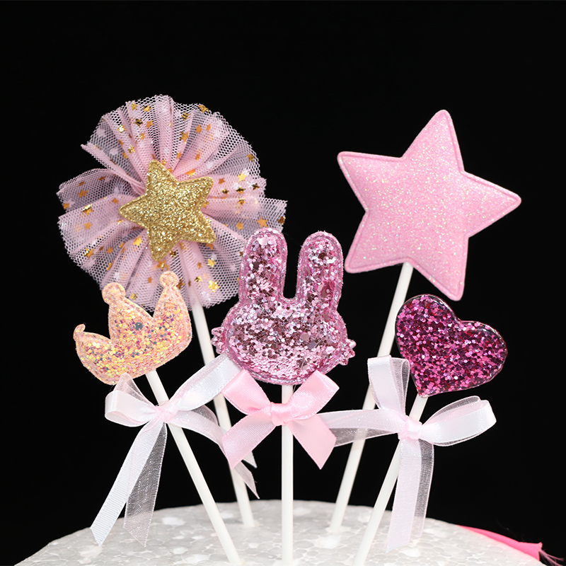 Image 2 - 5 pcs/lot pink star heart crown birthday cake topper cupcake decoration baby shower kids birthday party wedding favor supplies-in Cake Decorating Supplies from Home & Garden